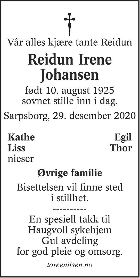 Reidun Irene Johansen Dødsannonse