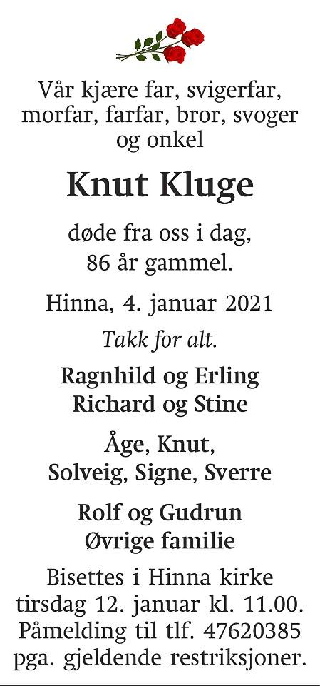 Knut Kluge Dødsannonse