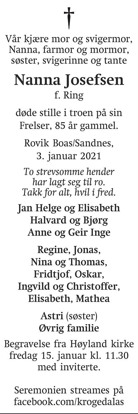 Nanna Josefsen Dødsannonse