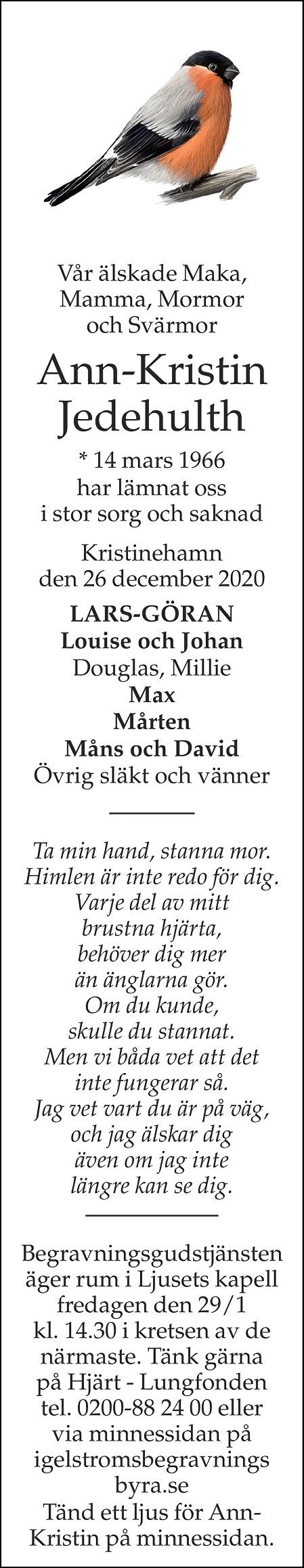 Ann-Kristin Jedehulth Death notice