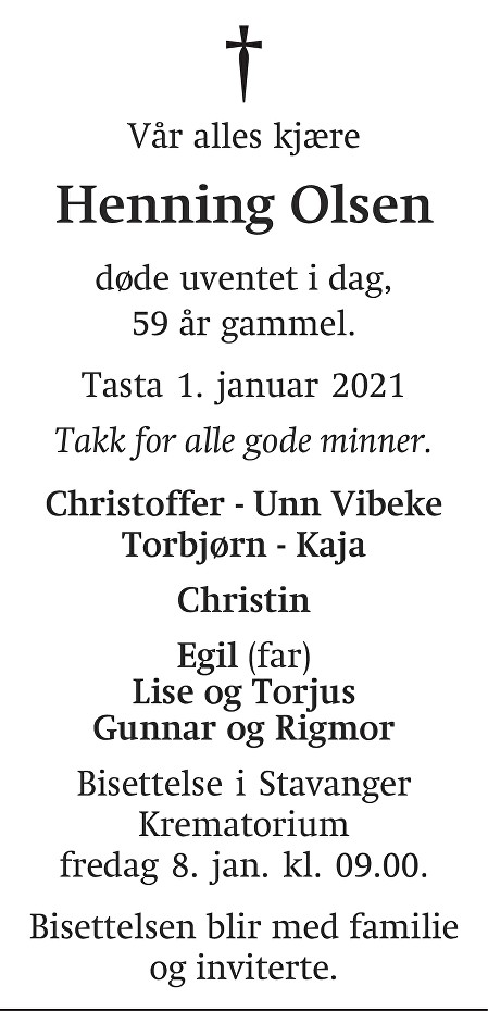 Henning Olsen Dødsannonse
