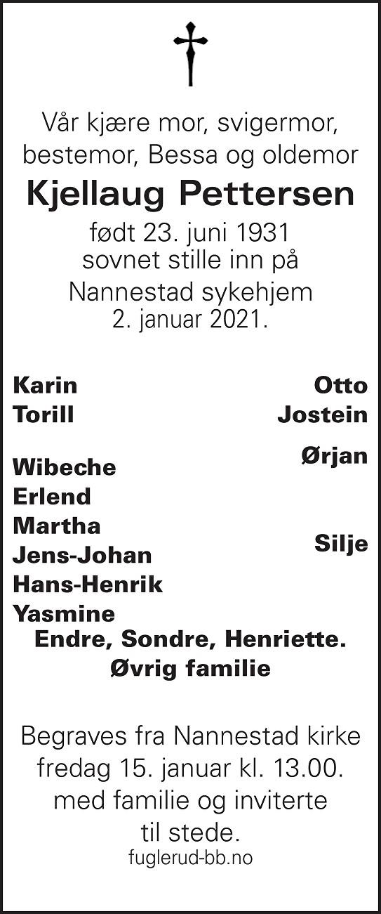 Kjellaug Pettersen Dødsannonse