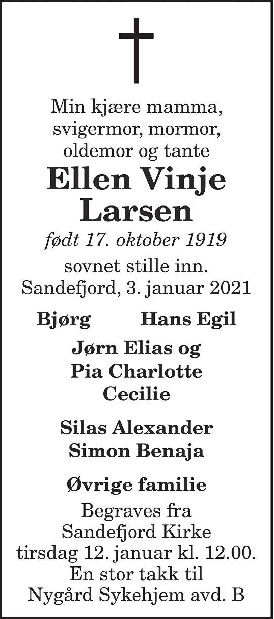 Ellen Vinje Larsen Dødsannonse