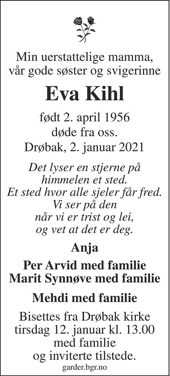 Eva Kihl Dødsannonse