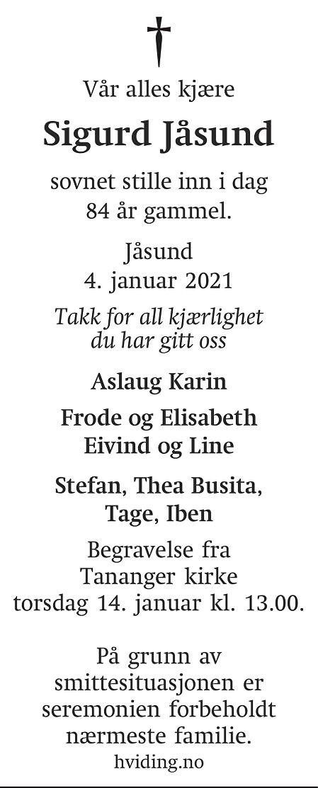 Sigurd Jåsund Dødsannonse