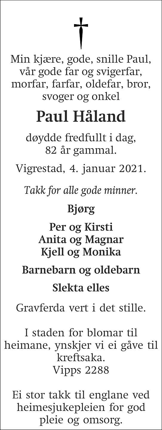 Paul Håland Dødsannonse