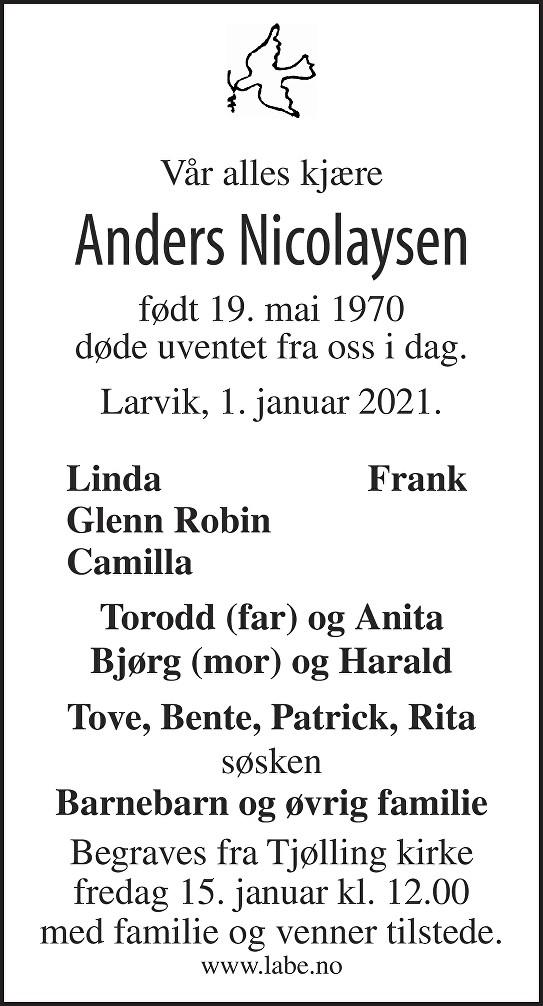 Anders Nicolaysen Dødsannonse