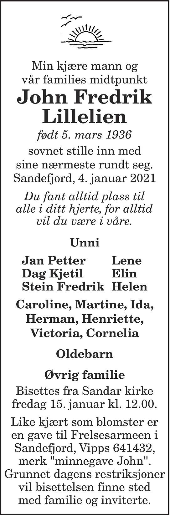 John Fredrik Lillelien Dødsannonse
