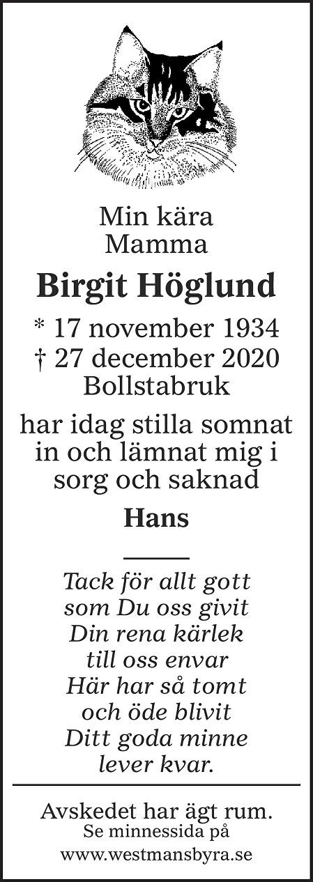 Birgit Höglund Death notice