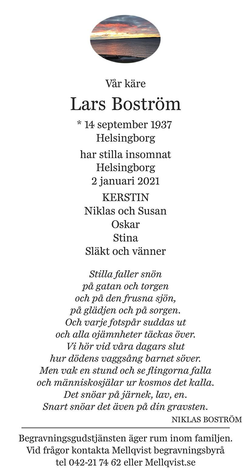Lars Boström Death notice