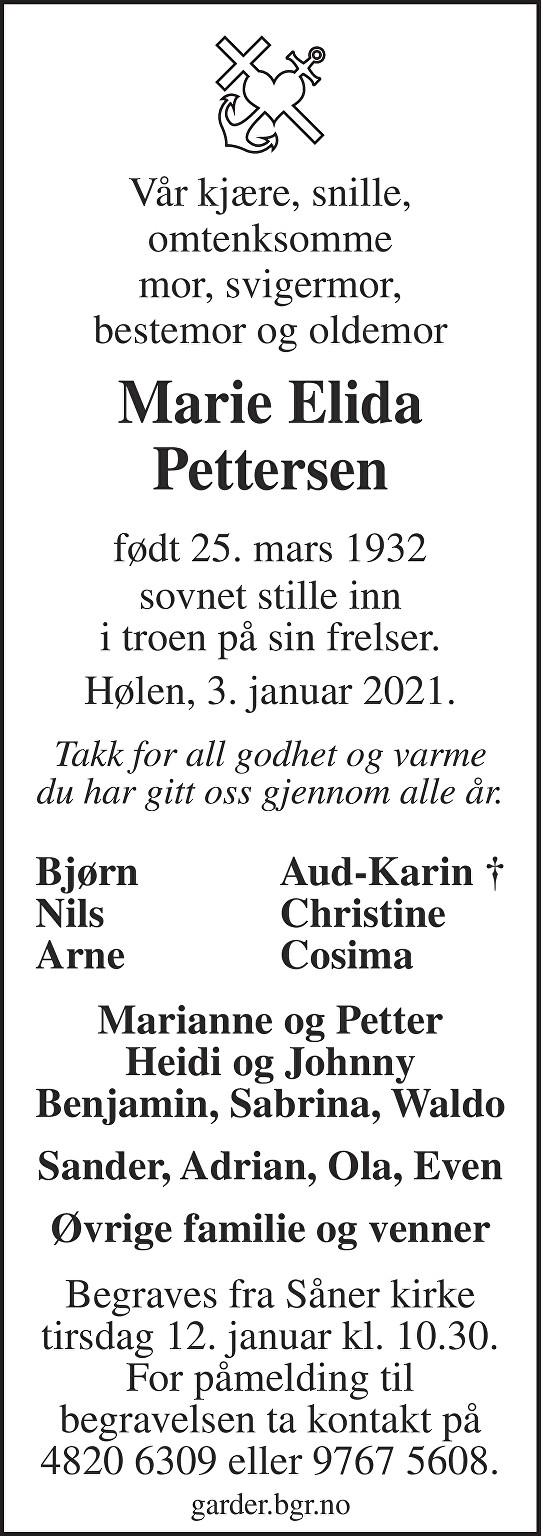 Marie Elida Pettersen Dødsannonse