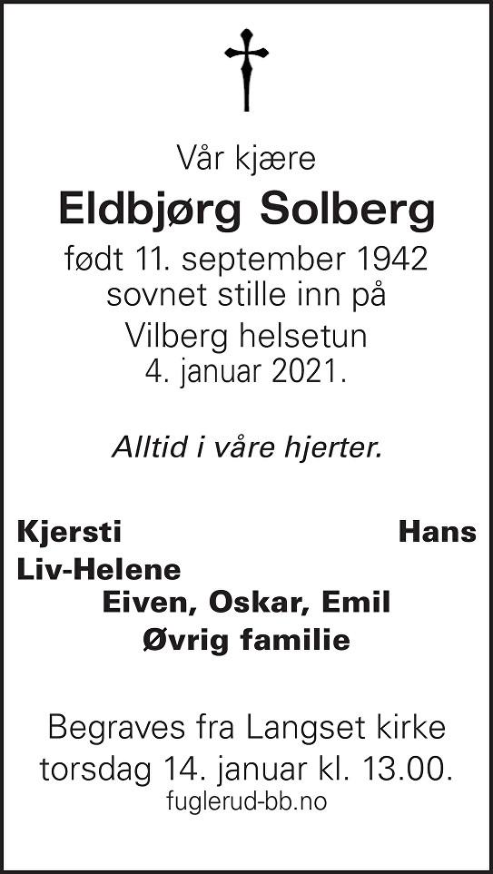 Eldbjørg Solberg Dødsannonse