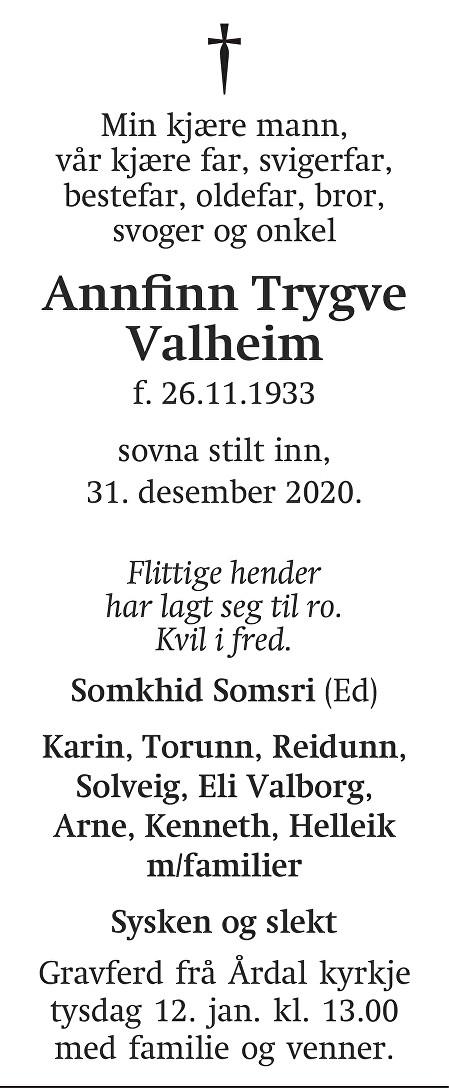 Annfinn Trygve Valheim Dødsannonse