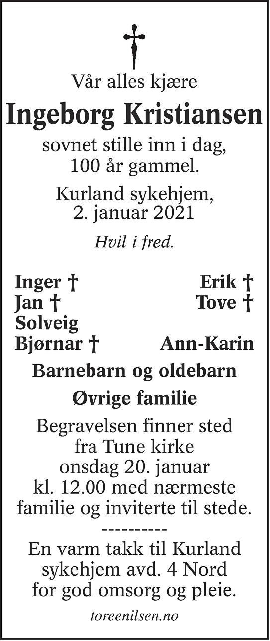 Ingeborg Kristiansen Dødsannonse
