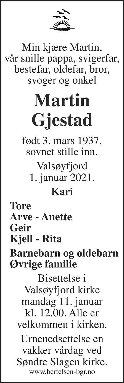Martin Gjestad Dødsannonse