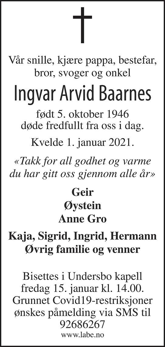 Ingvar Arvid Baarnes Dødsannonse