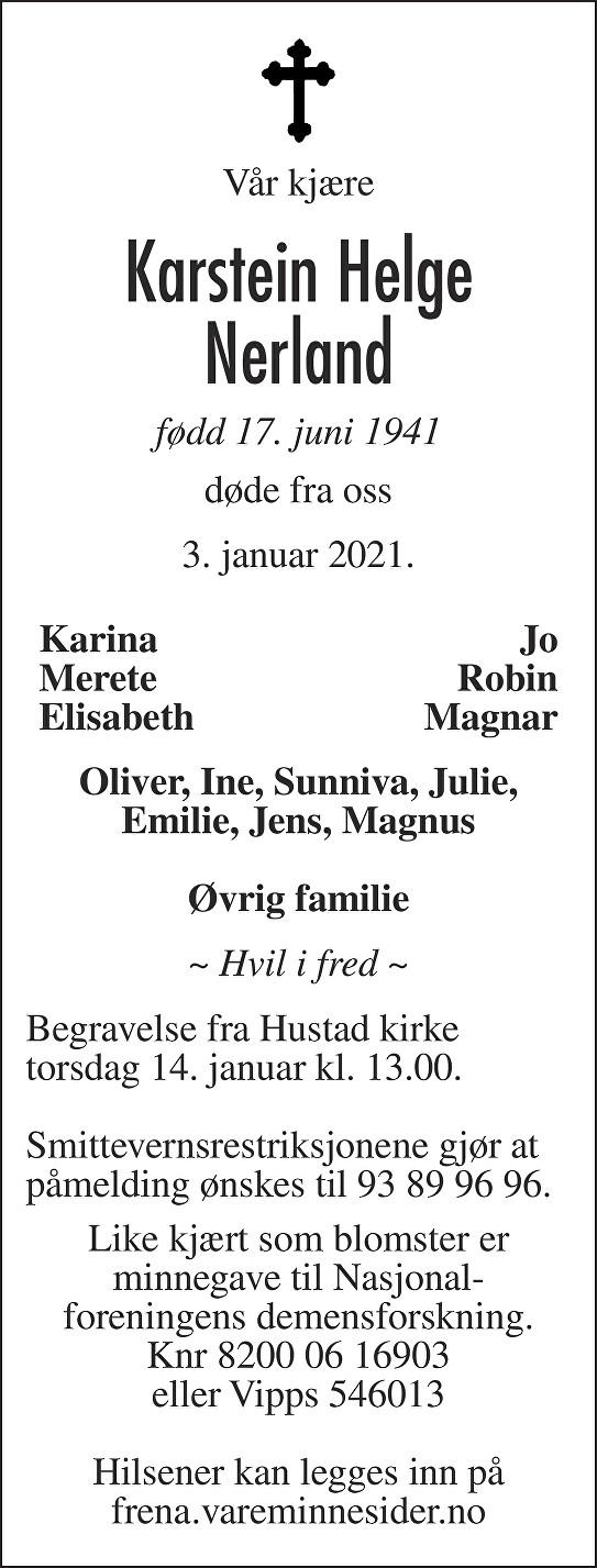 Karstein Helge Nerland Dødsannonse