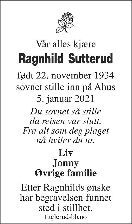 Ragnhild Sutterud Dødsannonse