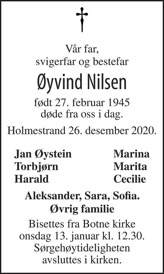 Øyvind Nilsen Dødsannonse