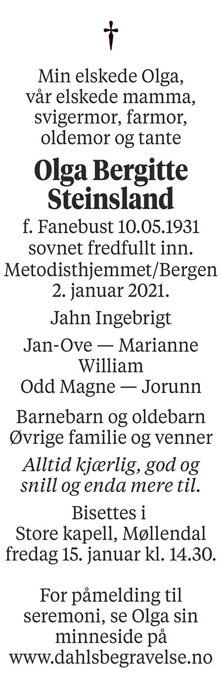 Olga Bergitte Steinsland Dødsannonse