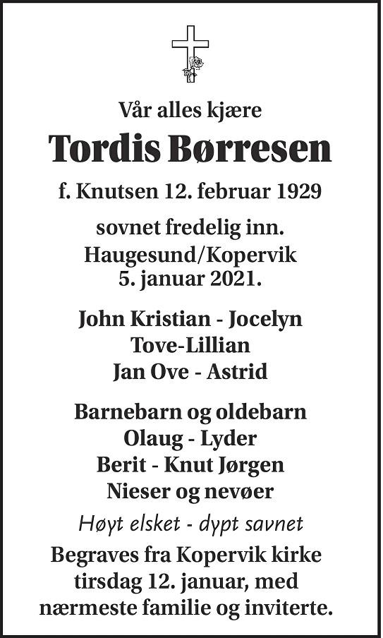 Tordis Børresen Dødsannonse