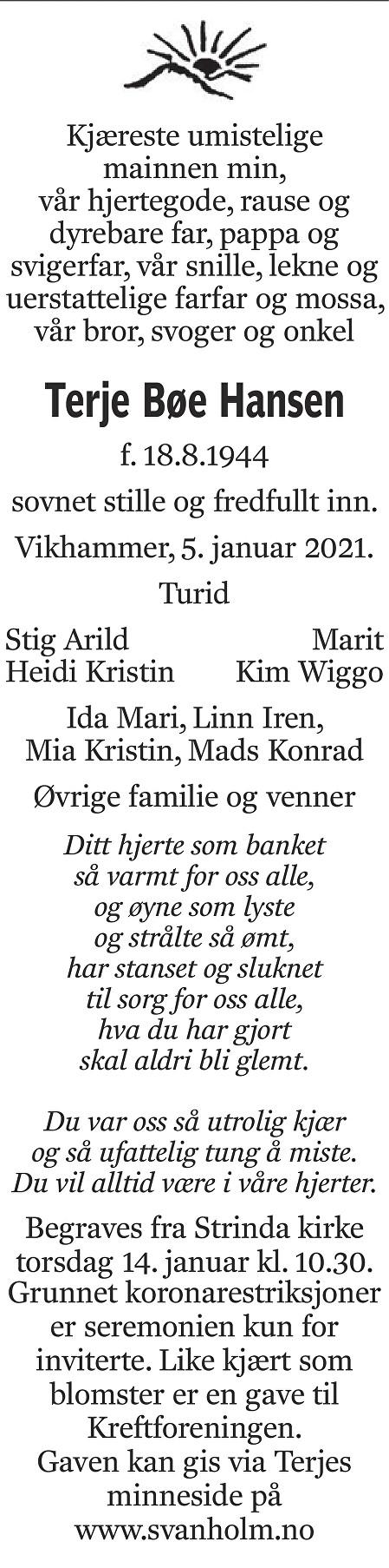 Terje Bøe Hansen Dødsannonse