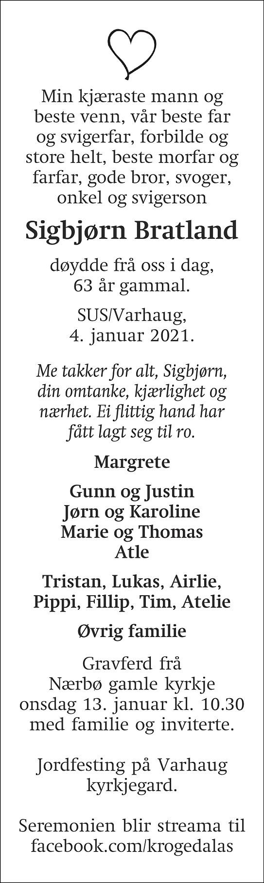 Sigbjørn Bratland Dødsannonse