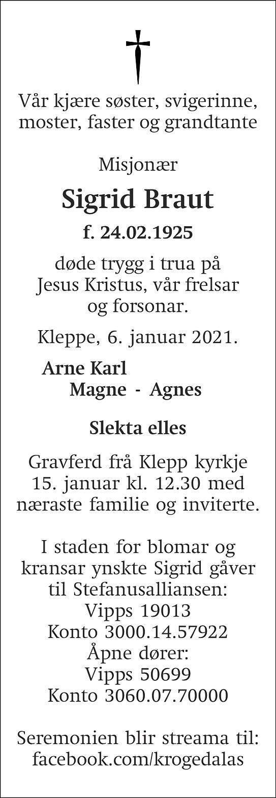 Sigrid Braut Dødsannonse