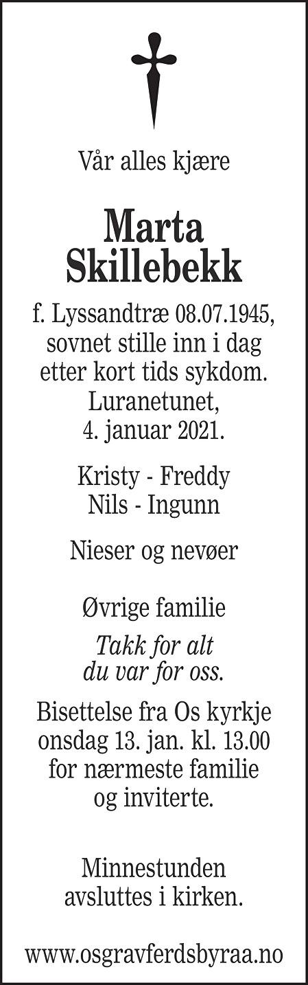 Marta Skillebekk Dødsannonse