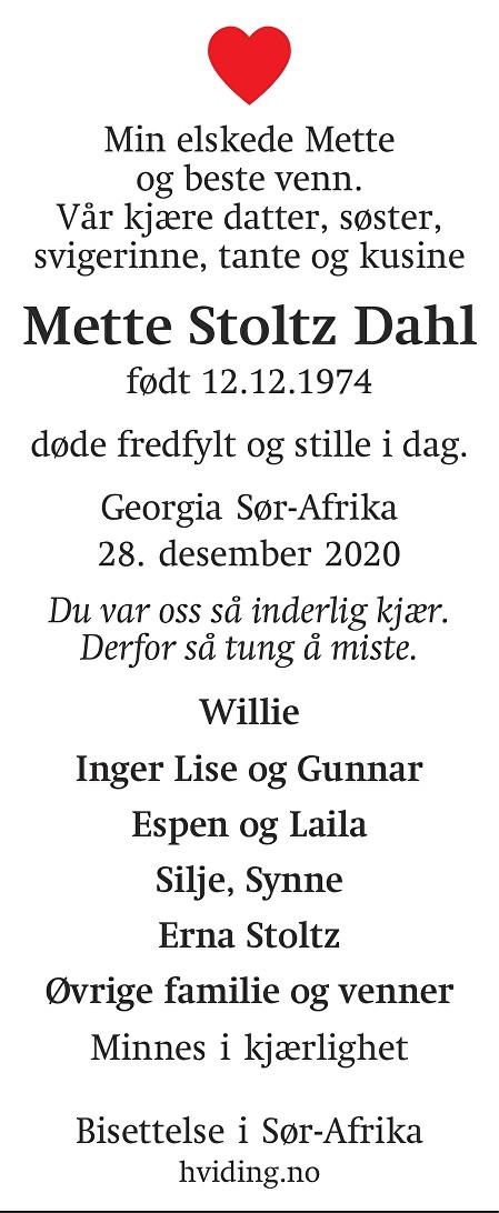 Mette Stoltz Dahl Dødsannonse