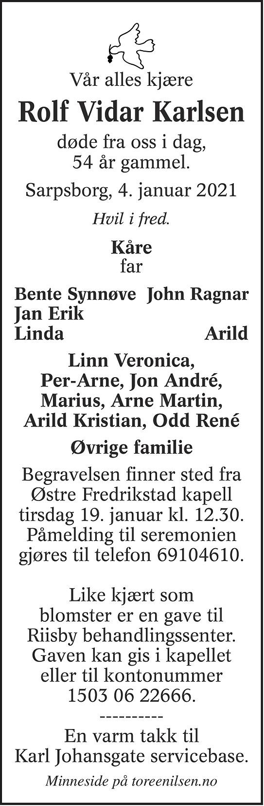Rolf Vidar Karlsen Dødsannonse
