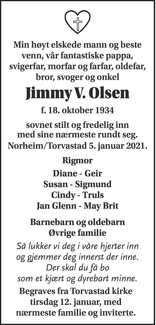 Jimmy V. Olsen Dødsannonse