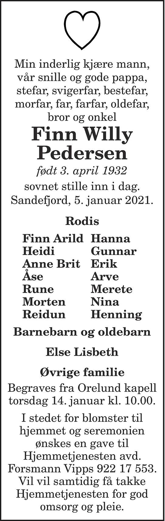 Finn Willy Pedersen Dødsannonse