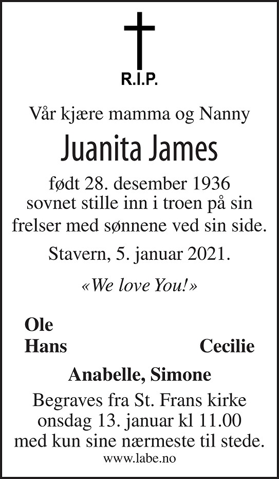 Juanita James Dødsannonse