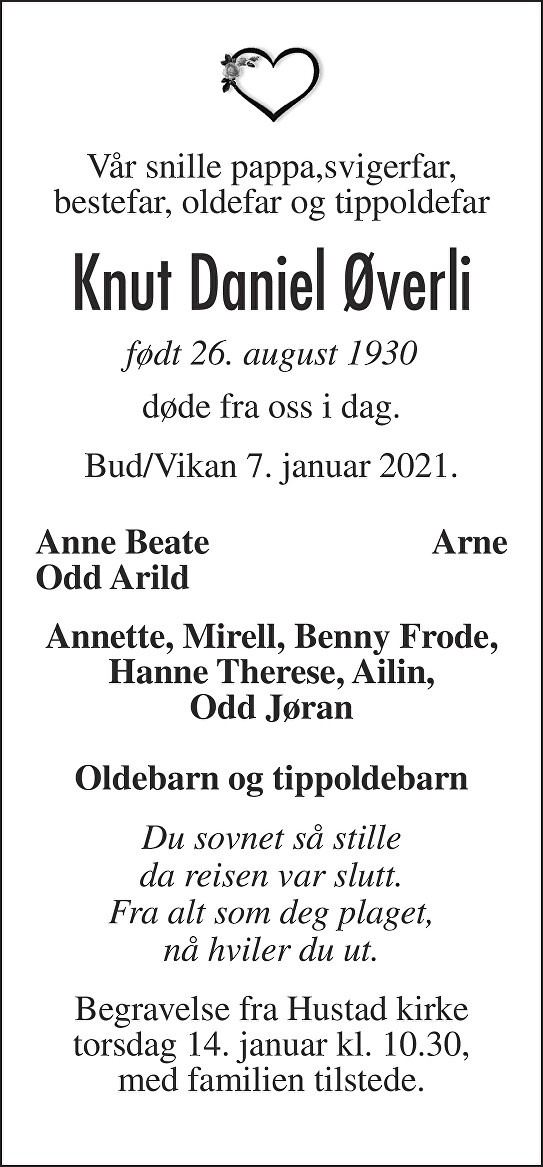 Knut Daniel Øverli Dødsannonse