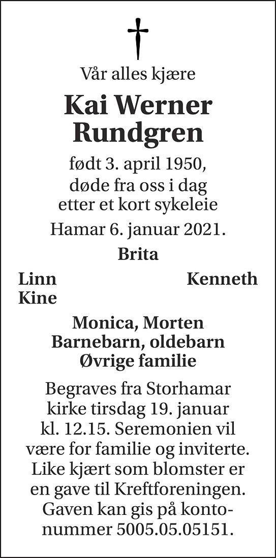 Kai Werner Rundgren Dødsannonse