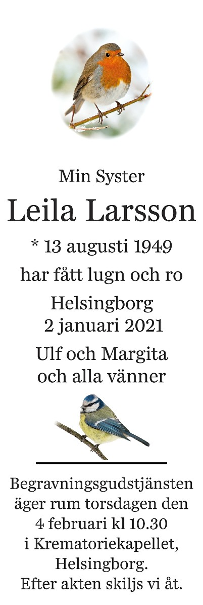 Leila Larsson Death notice