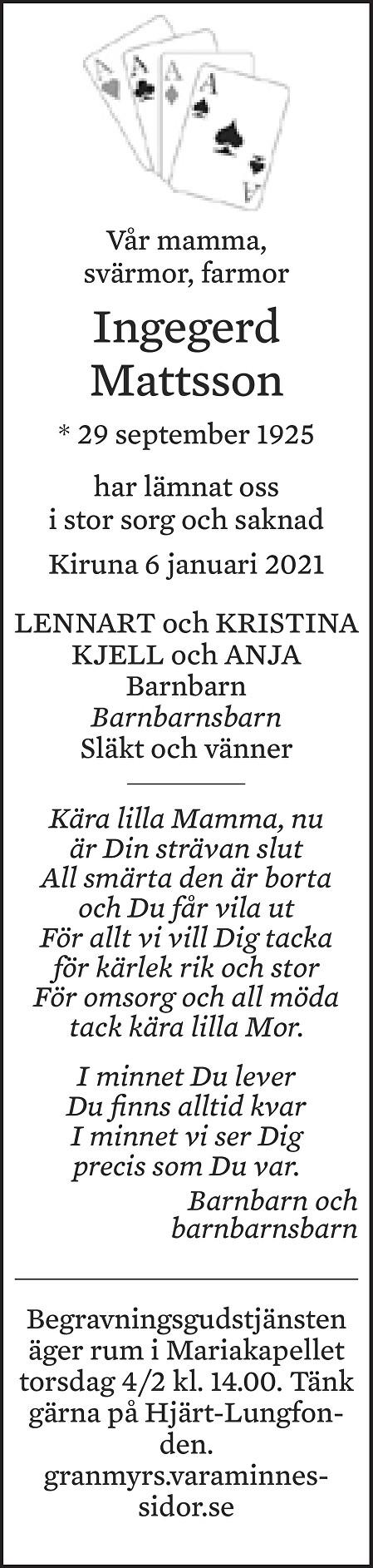 Ingegerd Mattsson Death notice