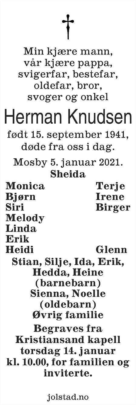 Herman Knudsen Dødsannonse