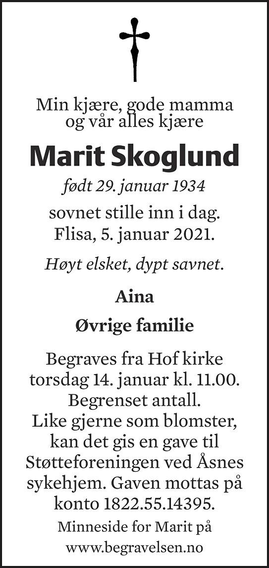 Marit Skoglund Dødsannonse