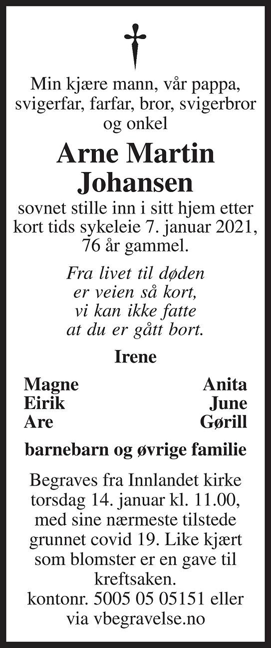 Arne Martin Johansen Dødsannonse