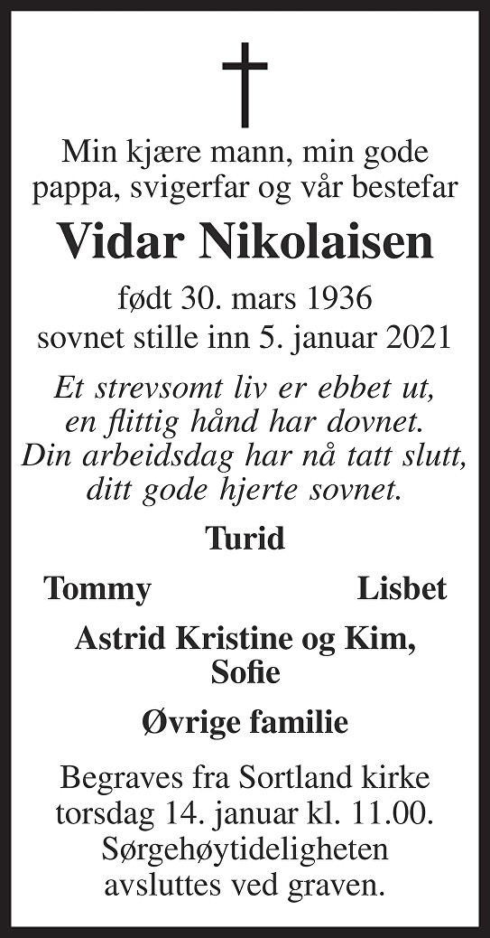 Vidar Johan Nikolaisen Dødsannonse
