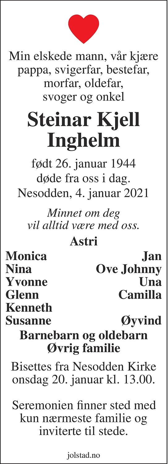 Steinar Kjell Inghelm Dødsannonse