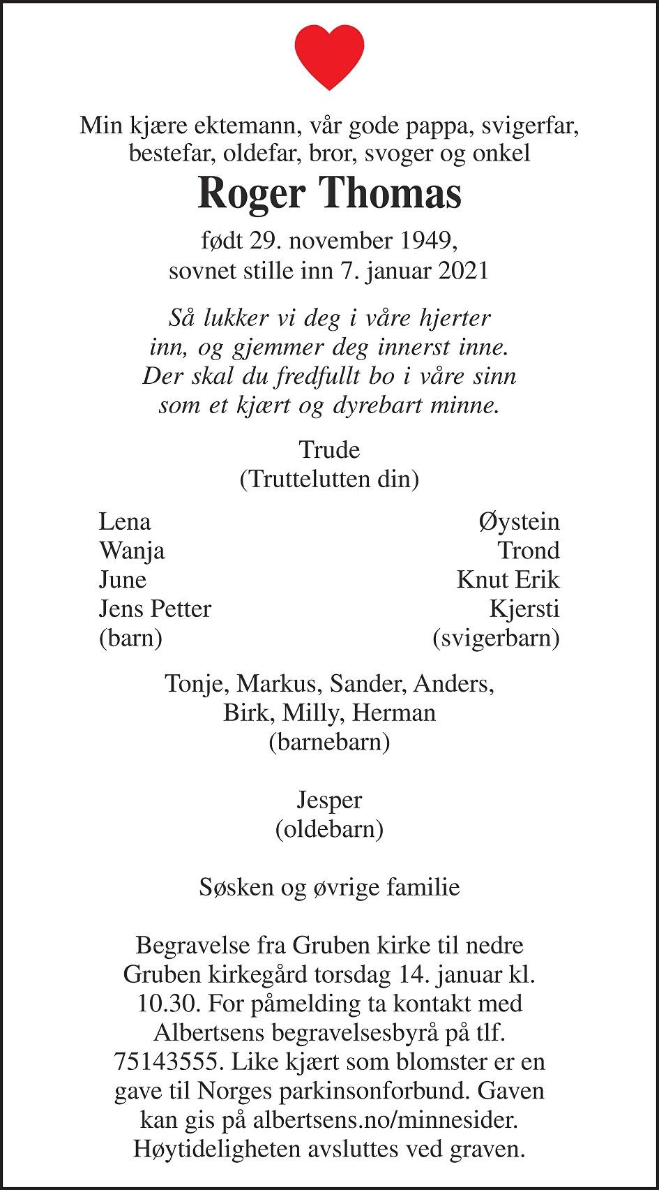 Roger Thomas Dødsannonse