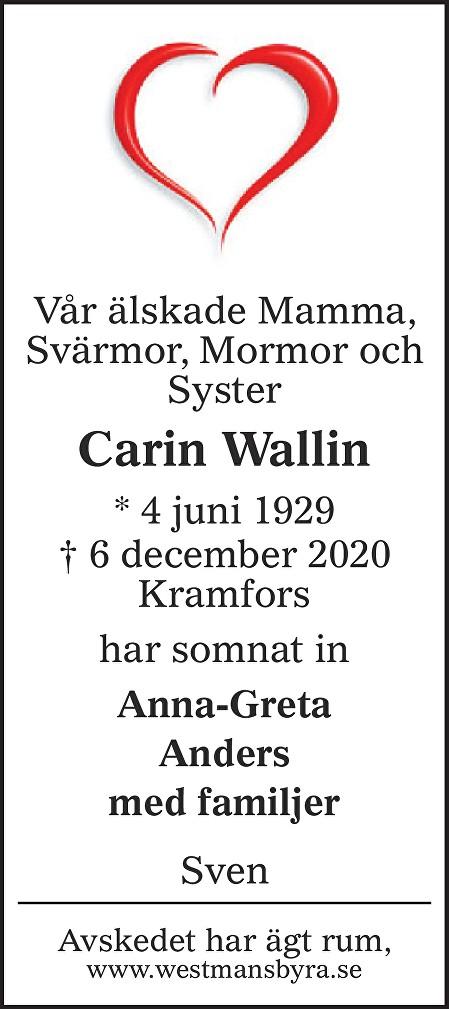 Carin Wallin Death notice