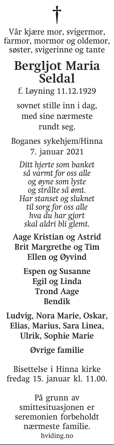 Bergljot Maria Seldal Dødsannonse