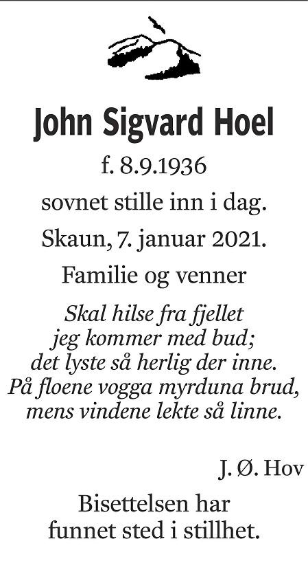 John Sigvard Hoel Dødsannonse