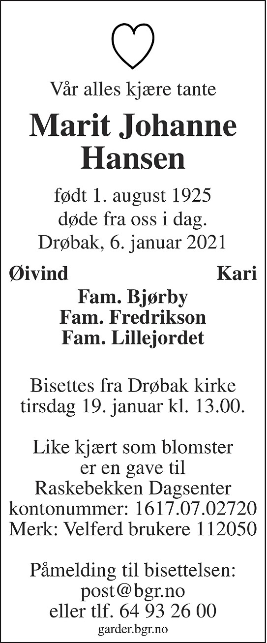 Marit Johanne Hansen Dødsannonse