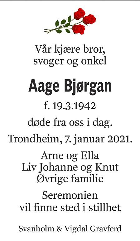 Aage Bjørgan Dødsannonse