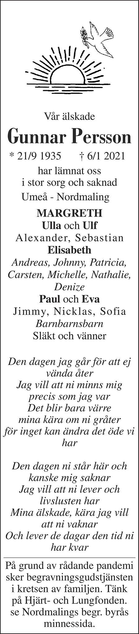 Gunnar Persson Death notice